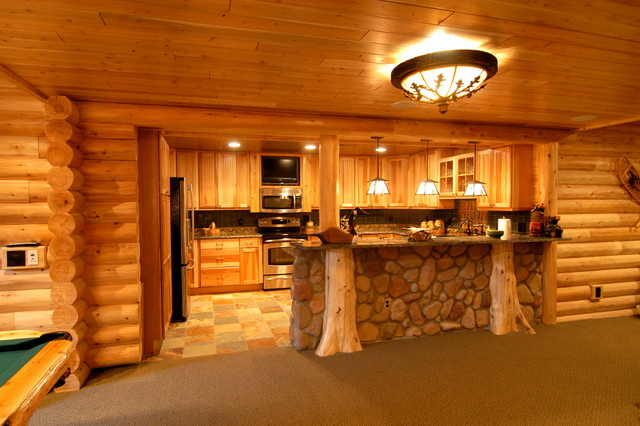 Log home theater traditional basement detroit by foran interior design - Cool log home interior designs guide ...