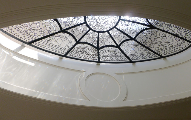 Leaded glass oval dome classique fen tre de toit et for Puit de lumiere prix