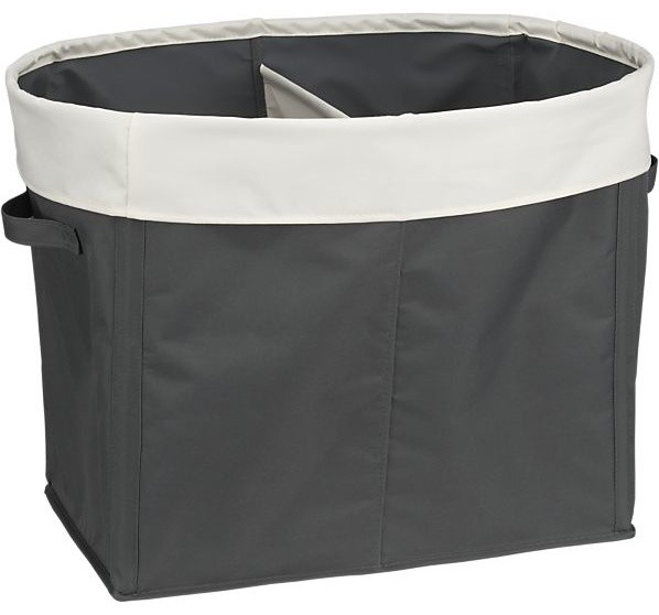 Divided gray tote contemporary hampers by crate barrel - Divided laundry hampers ...