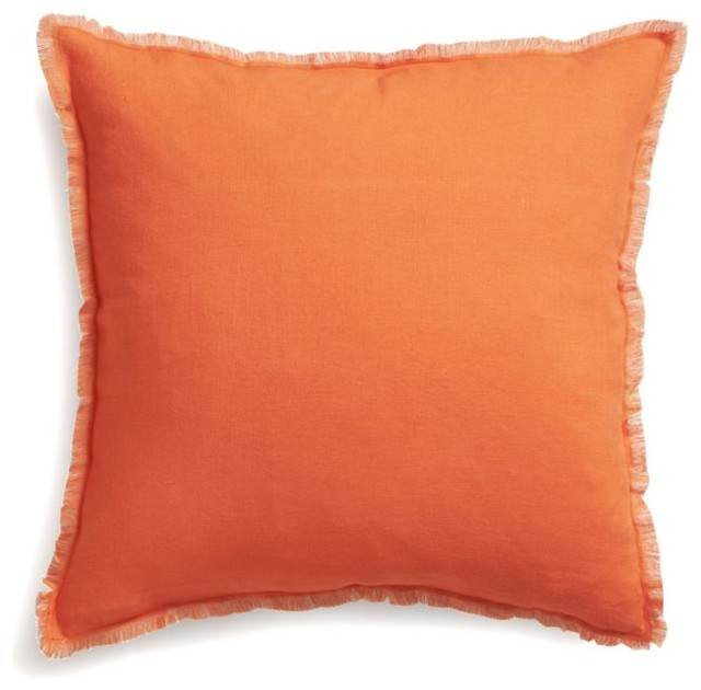 Eyelash Decorative Pillow : Eyelash Orange and Grey Pillow with Feather Insert - Decorative Pillows - by Crate&Barrel
