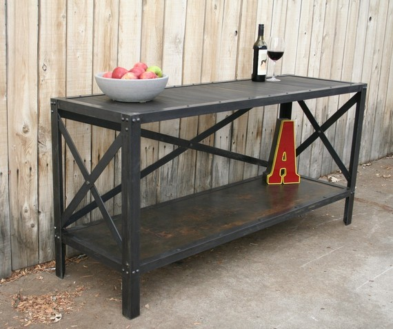 Outdoor Contemporary Sideboards ~ Handmade scrap metal and wood industrial style table by