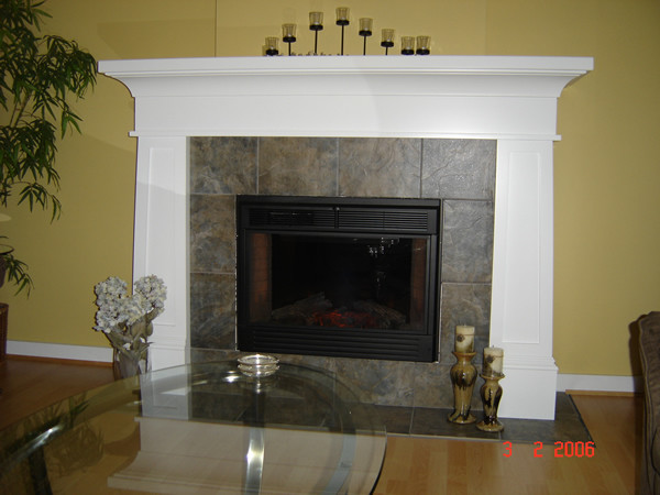 Painted fireplace mantel modern indoor fireplaces for Craftsman fireplace designs