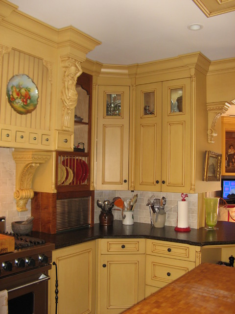 Painted Yellow Country French Kitchen