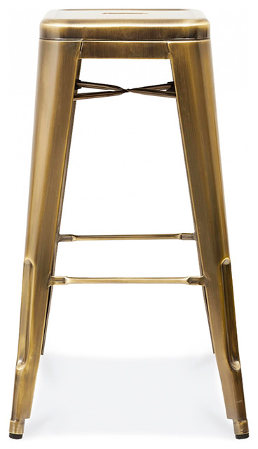 Dreux Stackable Vintage Brass Steel Bar Stools Set Of 4