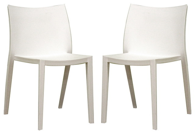 Odele white plastic chair set of 2 modern dining for White plastic kitchen chairs