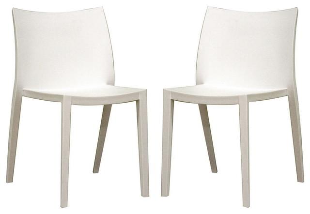 Odele White Plastic Chair Set Of 2 Modern Dining