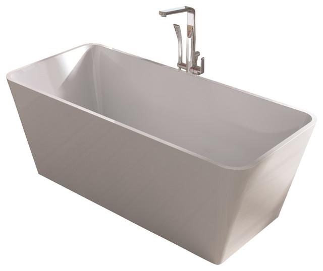 White stand alone resin bathtub white medium modern for Stand alone bathtubs modern