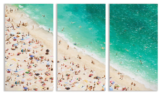 beach scene triptych wall art artwork other metro by temple webster. Black Bedroom Furniture Sets. Home Design Ideas