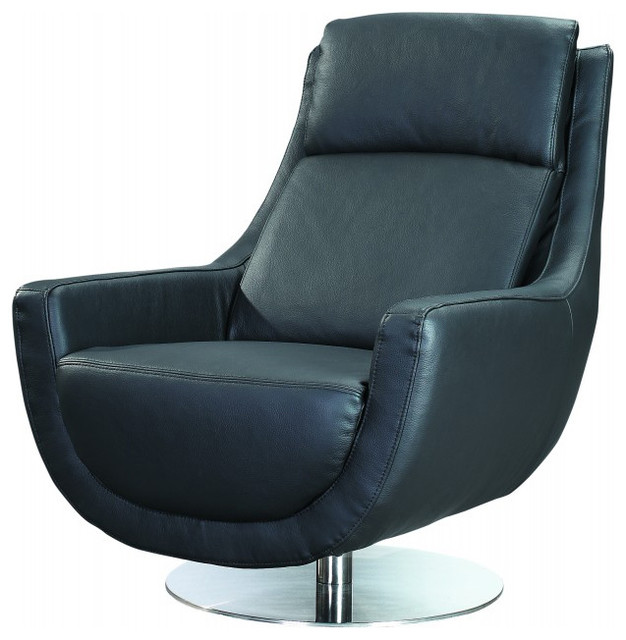 Germany Swivel Chair in Black Leather Contemporary