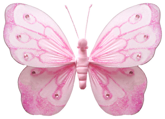 Hanging butterfly small pink shimmer nylon butterflies for Kitchen cabinets lowes with pink 3d butterfly wall art