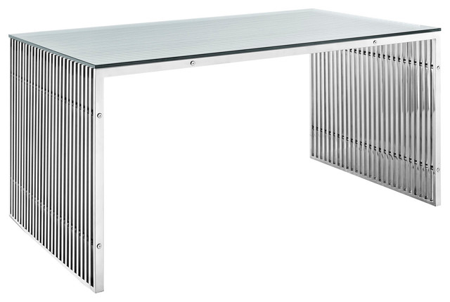 Gridiron Stainless Steel Dining Table EEI 1433 Silver  : contemporary dining tables from houzz.com.au size 640 x 430 jpeg 39kB