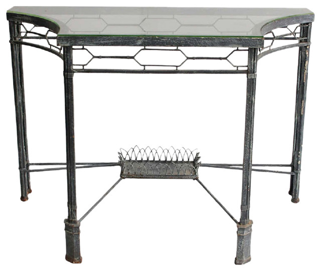 Metal glass console contemporary console tables for Metal and glass console tables