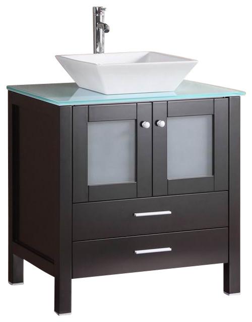 Belvedere bathroom vanity with glass top and vessel sink espresso 30 modern bathroom for Glass top bathroom vanity units