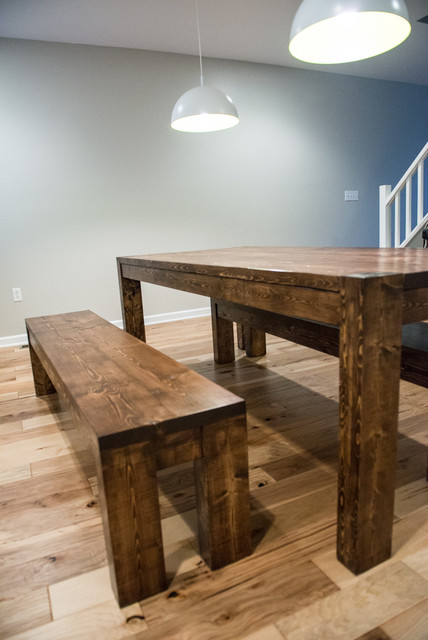 Modern Rustic Farmhouse Dining Room Table And Bench Set Modern Dining