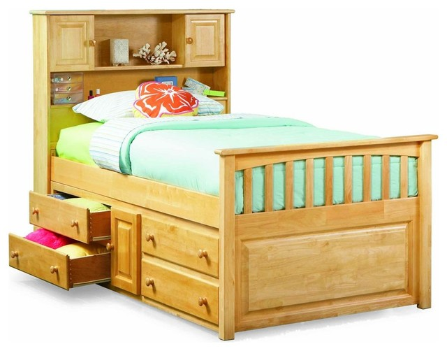 Natural maple twin bed with four drawer storage chest for Kids twin bed with drawers