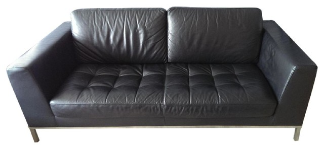 Italsofa Black Leather Sofa Chaise Furniture New York By Aptdeco