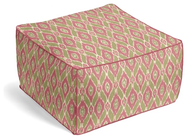 Handwoven Ikat Square Pouf - Mediterranean - Floor Pillows And Poufs - by Loom Decor