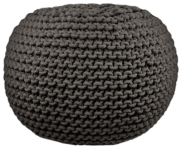 round cable knit pouf gray contemporary floor pillows and. Black Bedroom Furniture Sets. Home Design Ideas