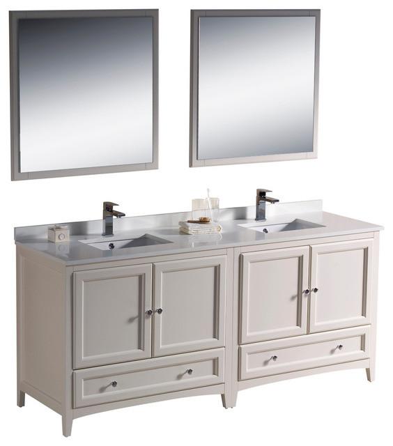 72 Inch Double Sink Bathroom Vanity in Antique White, Antique White - Classico - Tolette e ...