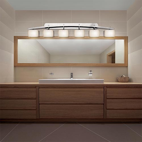 Bathroom Vanity Lights Contemporary : Limoges Polished Chrome Six-Light Bath Bar - Contemporary - Bathroom Vanity Lighting - by Bellacor