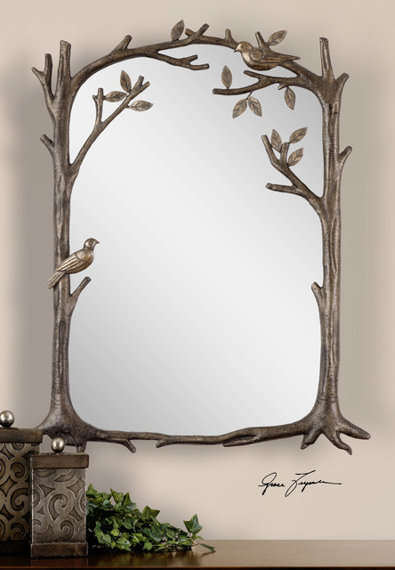 Perching Birds Decorative Mirror Transitional Wall