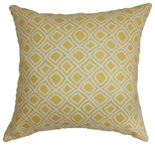 Yellow Decorative Pillows For Bed : Cacia Yellow 18 x 18 Geometric Throw Pillow - Contemporary - Bed Pillows - by Bellacor