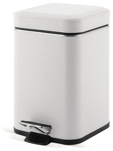 Square White Faux Leather Waste Bin With Pedal Contemporary