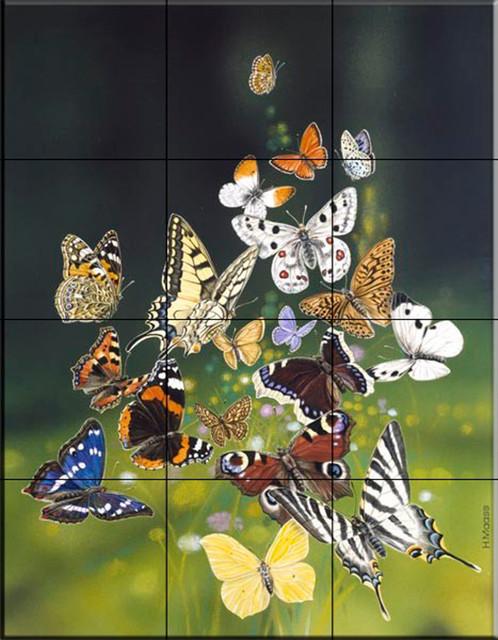 Tile mural butterflies kitchen backsplash ideas for Butterfly mural ideas