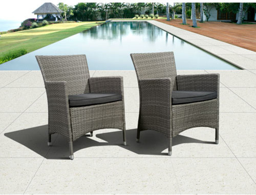 Atlantic Liberty Deluxe Grey Wicker Armchair Set Of Two Contemporary Outdoor Lounge Chairs