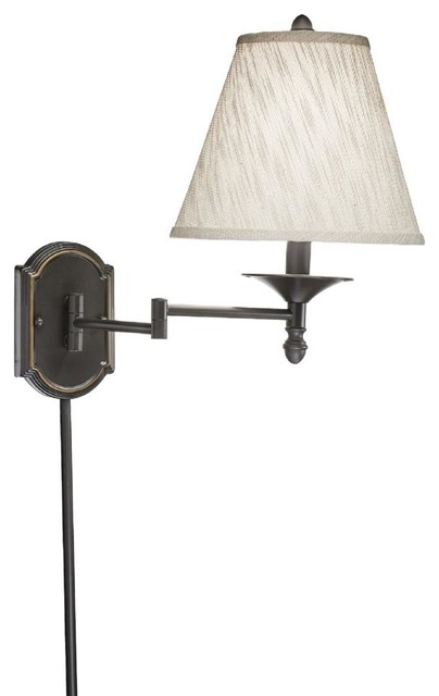 Contemporary Wall Lamps Swing Arms : Swing Arm 1-light Plug-in Bronze Wall Lamp with Cream Shade - Contemporary - Swing Arm Wall ...