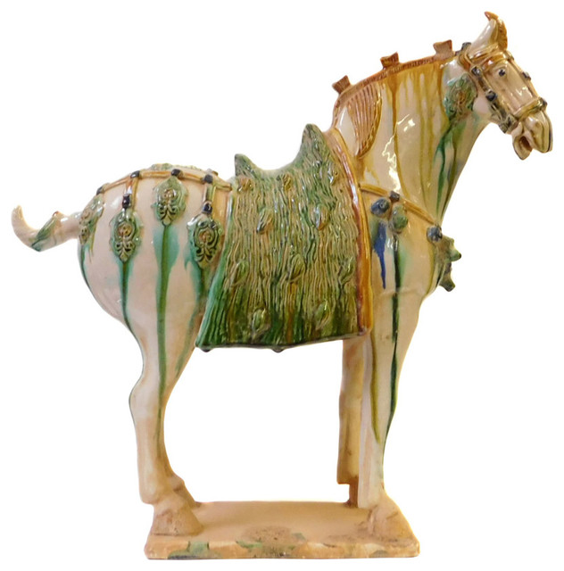 Chinese Off white Green Pottery Clay Ancient Style Horse Figure - Asian - Decorative Objects And ...