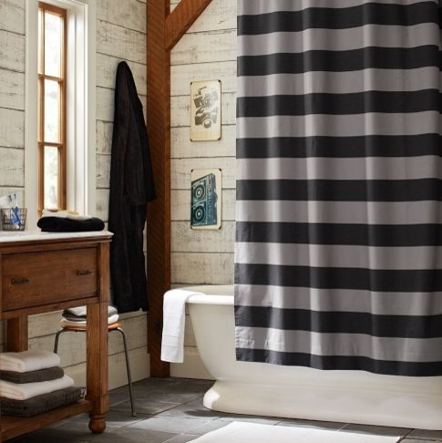 Rugby Stripe Shower Curtain Eclectic Shower Curtains By Pbteen