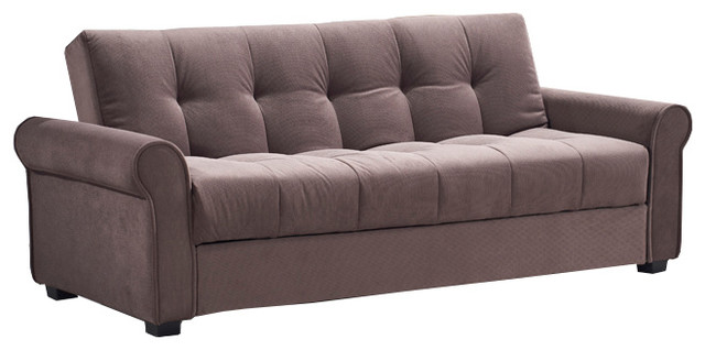 Houston Tufted Storage Futon Sofa Bed With Textured Linen