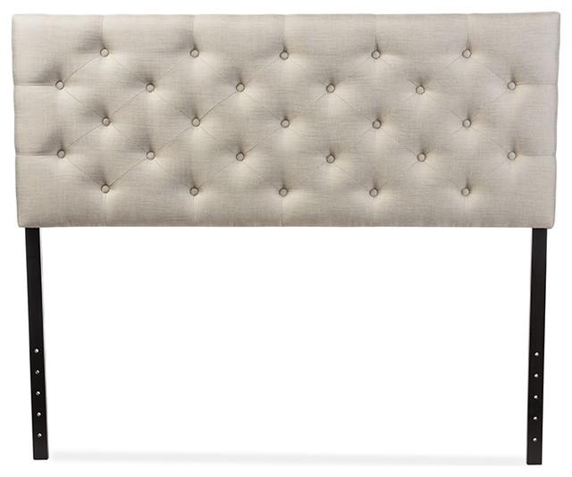 Viviana Fabric Upholstered Button Tufted Headboard Queen Light Beige