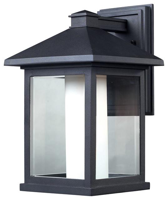 Transitional Outdoor Wall Lights : Z-Lite 523B Mesa 1 Light Outdoor Wall Lights in Black - Transitional - Outdoor Wall Lights And ...