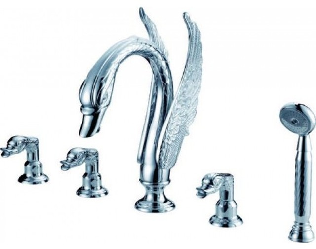 Silver Plated Triple Handle Long Neck Bathtub Waterfall Faucet With Hand Show
