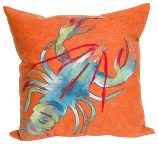 Beach Style Outdoor Cushions : Visions II Lobster Pillow, Orange, 20