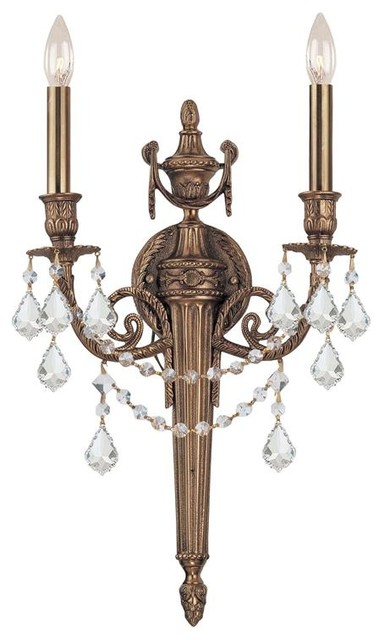 Crystorama Arlington 2 Light Spectra Crystal Matte Brass Sconce - Traditional - Wall Sconces ...