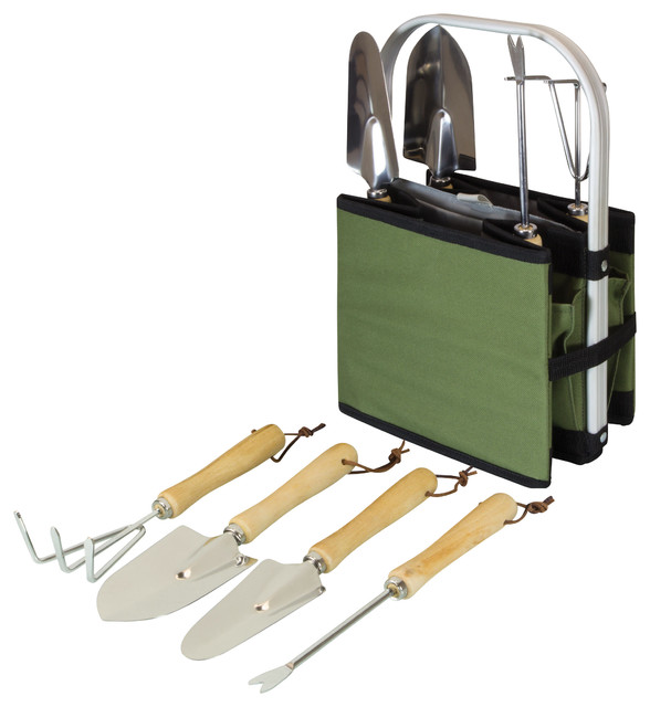 Garden caddy olive green and black modern gardening for Gardening tools and accessories