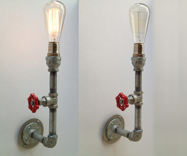 Not On The High Street Industrial Wall Light : Industrial Pipe Vintage Valve Metal Sconce Light