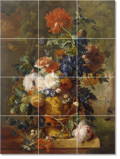 Jan van huysum flowers painting ceramic tile mural 162 for Ceramic mural painting