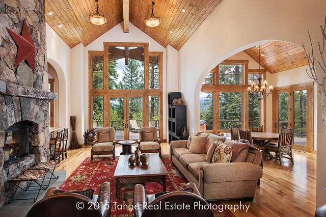 Mountain lodge style property craftsman living room for Lounge style living room