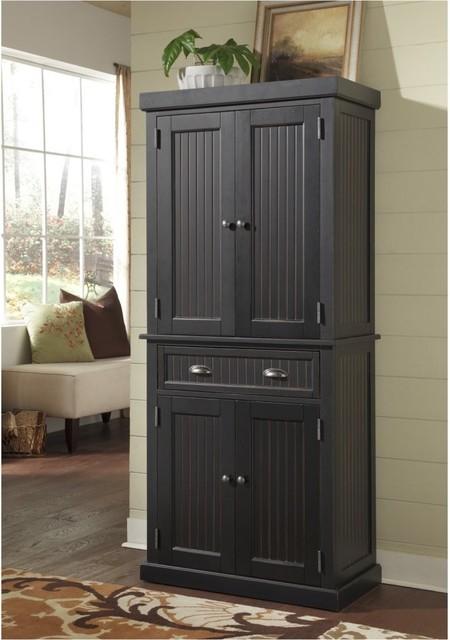 Home Styles Nantucket Pantry Distressed Black Modern Pantry Cabinets By Hayneedle