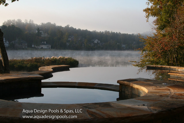 Lake living pool with infinity edge and view craftsman for Pool design by laly llc
