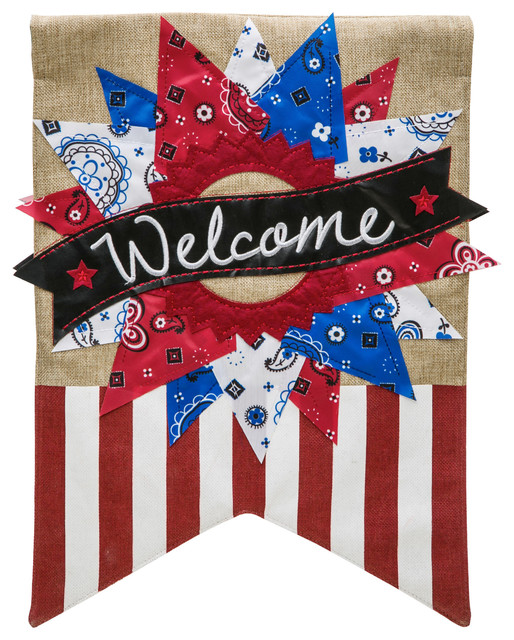 Patriotic bandana welcome burlap house flag 28 x44 for Patriotic welcome home decorations