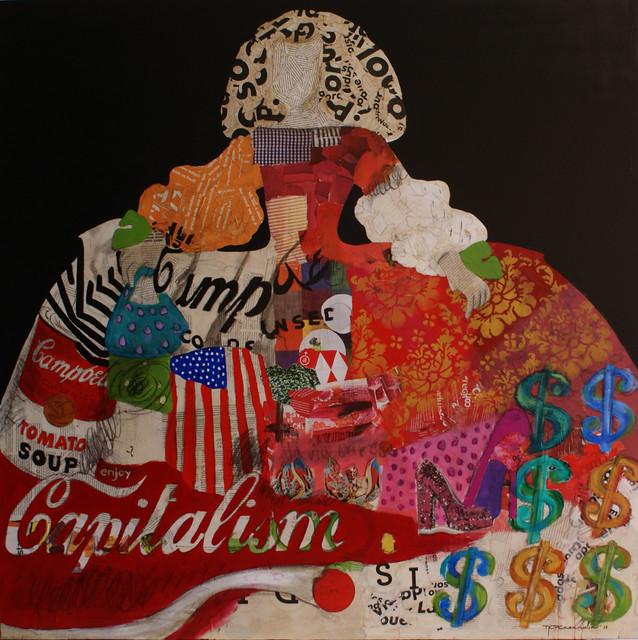 Menina 123 100x100 cm collage y acr lico sobre lienzo - Acrilico sobre lienzo ...