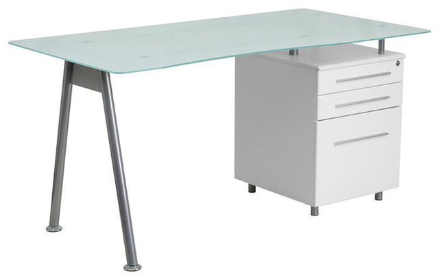 Flash Furniture White Computer Desk With Glass Top And 3