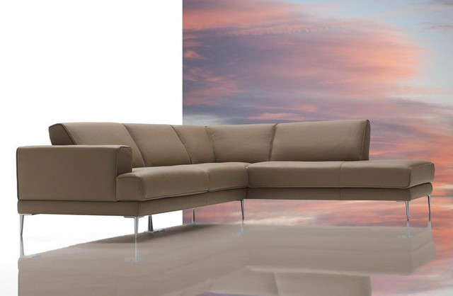 Mirage - Modern Latte Top Grain Italian Leather Sectional Sofa modern