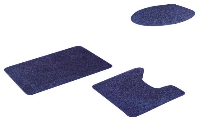 layla 3 piece rug set navy blue contemporary bath mats by kashi home. Black Bedroom Furniture Sets. Home Design Ideas