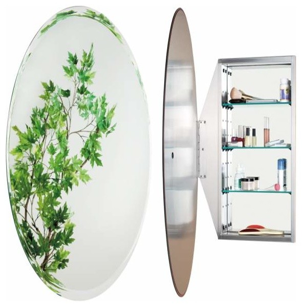 Alno creations oval mirror cabinet stainless steel mc4950 ss traditional bathroom mirrors Oval bathroom mirror cabinet